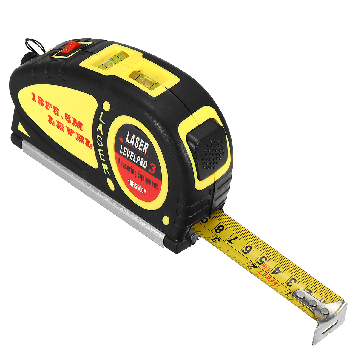 Spirit Laser Level with 5.5m Measure Tape Horizontal Vertical Line Ruler Aligner