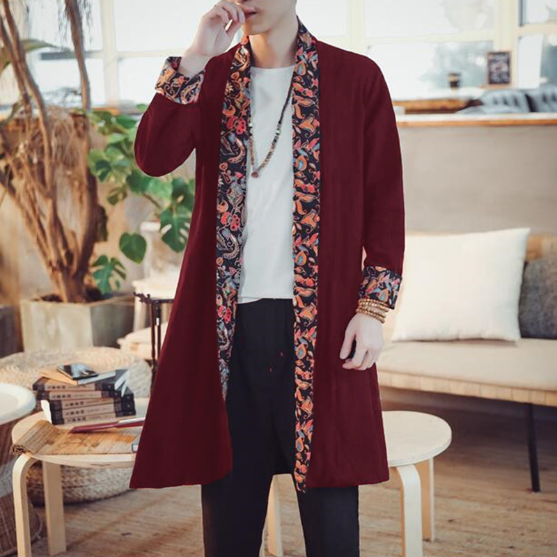 INCERUN Ethnic Style Loose Mid Long Cardigan Cloak Coats