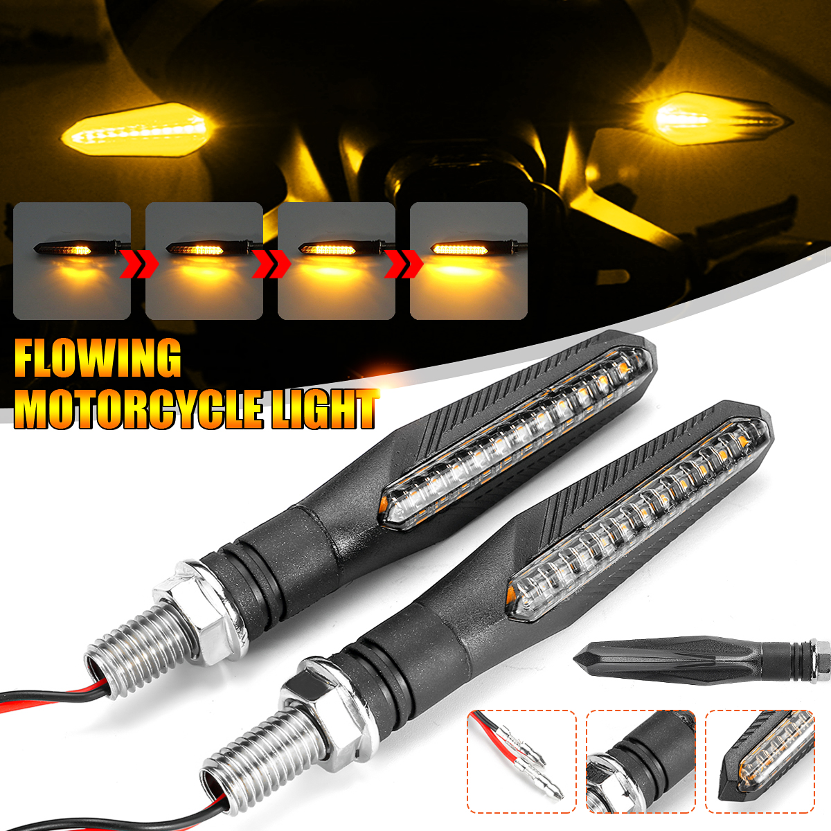12V Universal Flowing Motorcycle LED Turn Signal Indicator Amber Lights