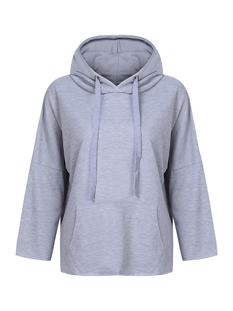 Hooded Long Sleeve Solid Loose Women Sweatshirt