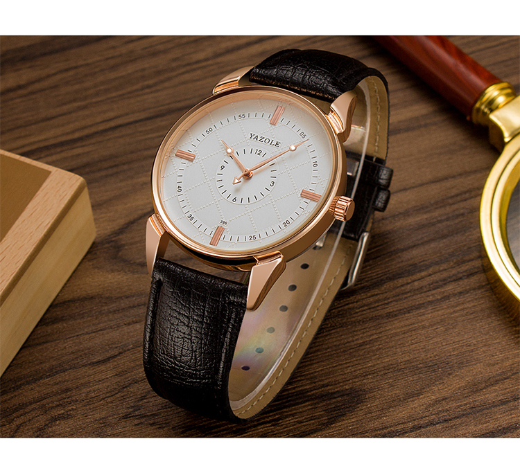 YAZOLE 396 Male Quartz Watch Luminous Leather Strap Simple Men Wrist Watch