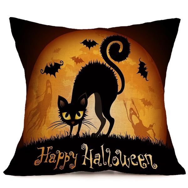45cmx45cm 6 Pattern Halloween Fashion Cotton Linen Pillow Case Home Sofa Cushion Decor