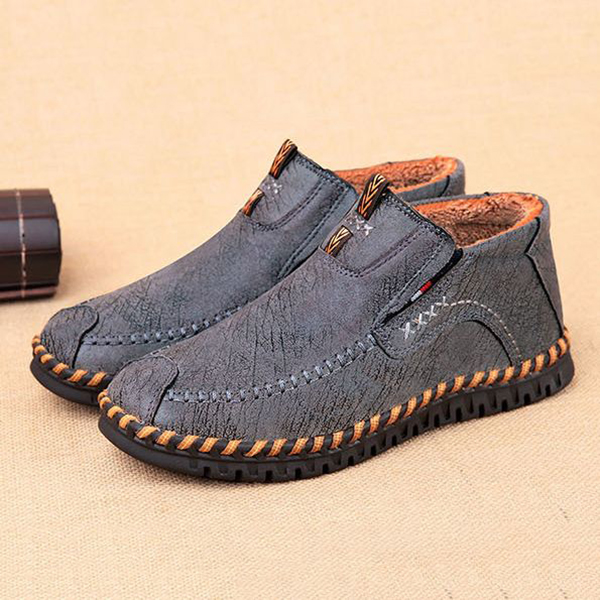 Men Comfy Warm Fur Lining High Top Suede Oxfords Shoes Boots