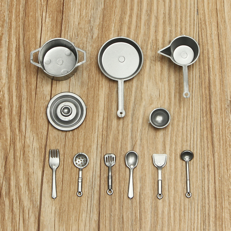 10Pcs/Set Vintage Royal Style Dollhouse pot Spoon Metal Mini Spoons Alloy Crafts DIY Miniature