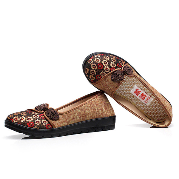 Women Flower Cloth Shoes Casual Soft Flat Loafers