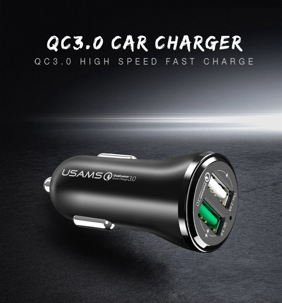 USAMS 18W Dual 2 Port USB Car Charger Compatible Qualcomm 3.0 For iPhone 7 Samsung S8 Xiaomi 6 Letv