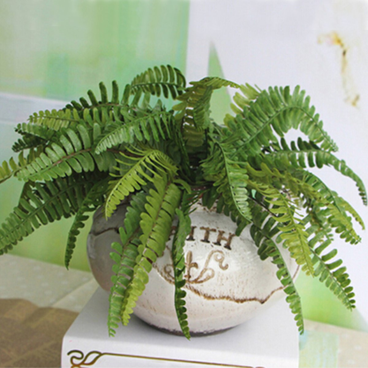 1 Bouquet Artificial Green Fern Bush Plant Leaves Flower Arrangment Home Floral Craft Decor