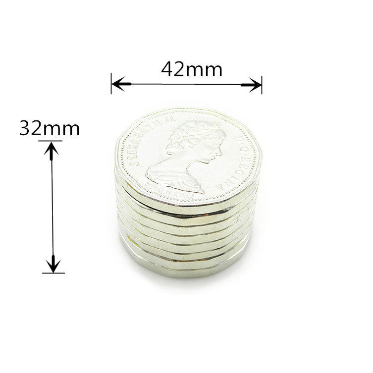 42mm 3 Piece Pound Coin Tobacco Herb Grinder Metal Spice Crusher Zinc Alloy Pollen Catcher Smoking Accessories