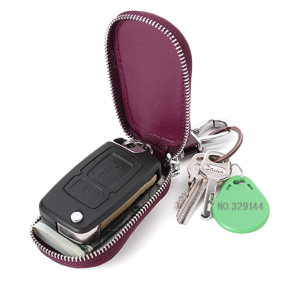 4*2*8CM Genuine Leather Car Key Case Bag Keychain Remote Protector Cover Universal