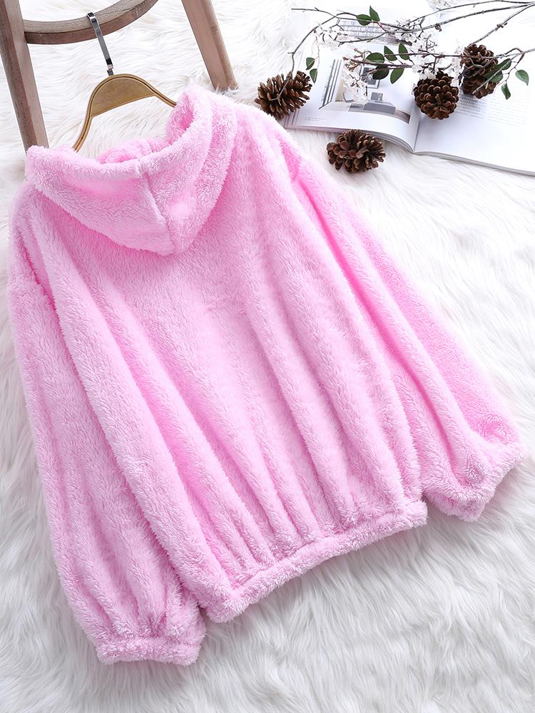 Women Fleece Solid Color Puff Sleeve Hooded Sweatshirt