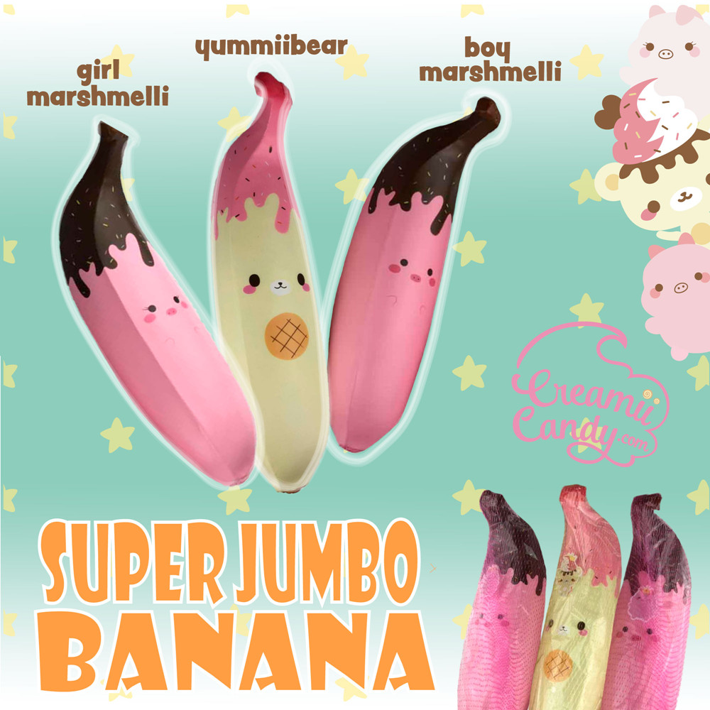 Puni Maru Giant Pink Banana Squishy 35CM Huge Girl Marshmellii Piggy Slow Rising Chocolate Strawberry Banana