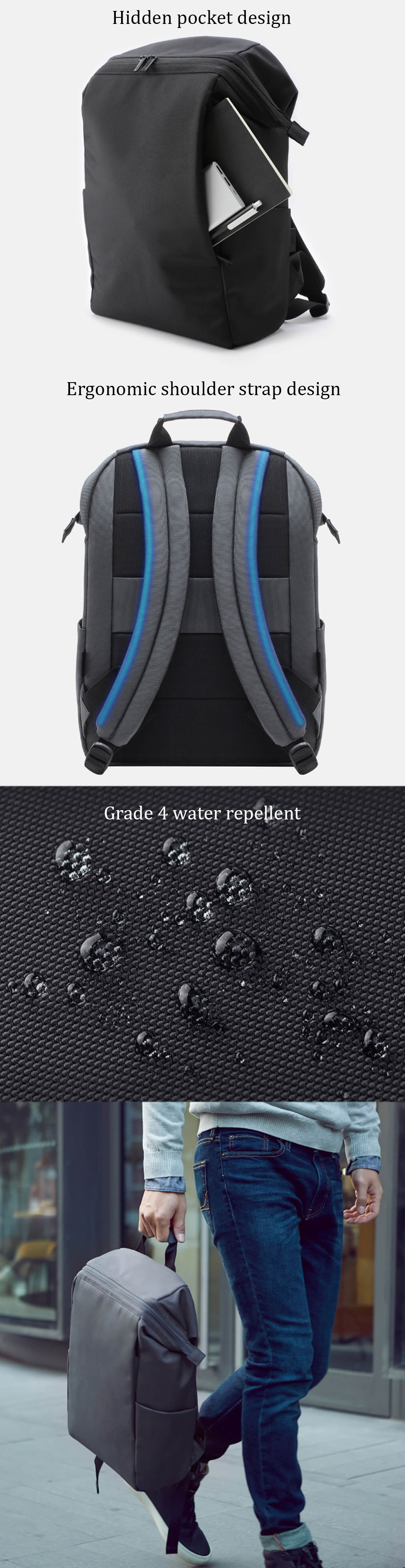 Xiaomi 90 Fun Backpack 15.6 Inch Laptop Bag Level 4 Water Repellent Travel Leisure Shoulder Bag