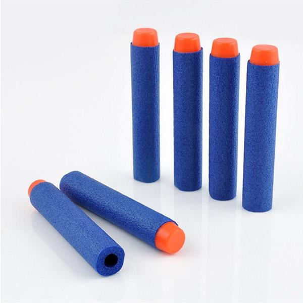 100pcs Toy Refill Darts Blue Bullet for Nerf N-strike Series Blasters 7.2x1.3cm