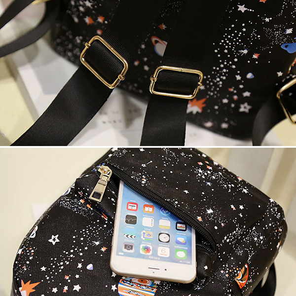 Women Faux Leather Galaxy Pattern Outdoor Shoulder Bag
