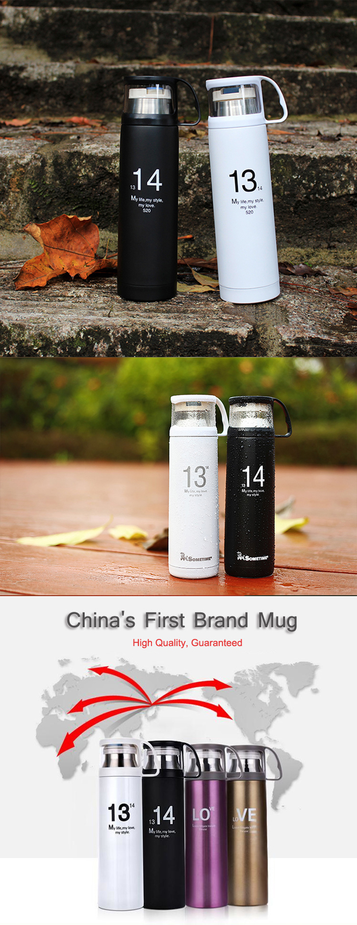 1314 Lovers Cup Stainless Steel Vacuum Flask Thermos Cup Portable Travel Mug