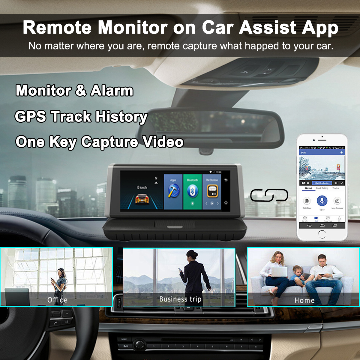 8 Inch 4G Touch WIFI Recorder Dual Lens Car DVR Video Auto Dash Cam GPS Rear Camera
