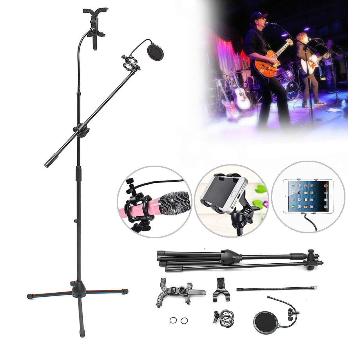 360° Rotating Microphone Guitar Play Solo Live Stand Tripod+Tablet Holder+Phone Clip