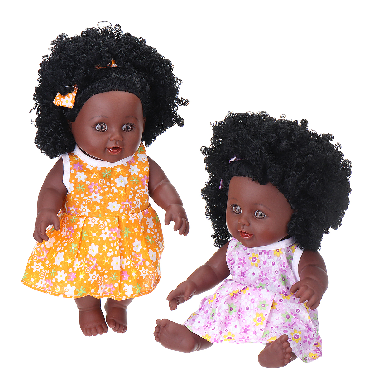 12Inch Simulation Soft Silicone Vinyl PVC Black Baby Fashion Doll Rotate 360° African Girl Perfect Reborn Doll Toy for Birthday Gift - Photo: 2