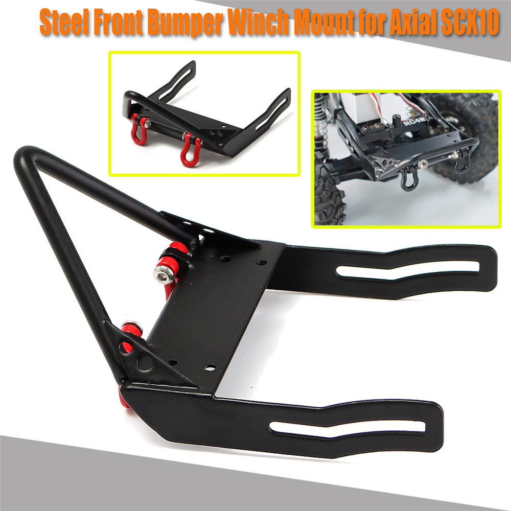 Xtra Speed ST Steel Front Bumper Protector Winch Mount For 1/10 Axial SCX10 Black RC #XS-SCX22131BK