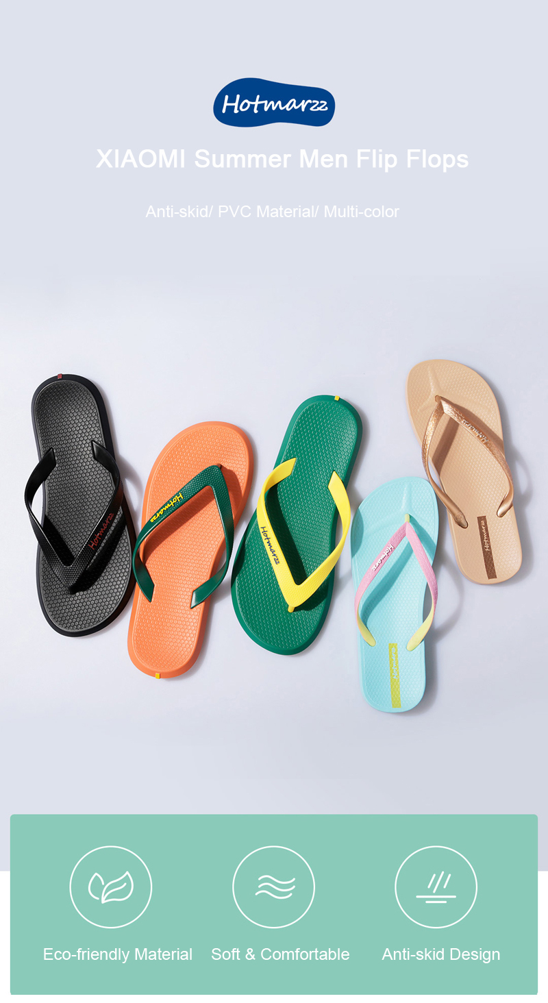 XIAOMI Hotmarzz Summer Men Flip Flops Beach Non-slide PVC Material Slippers Casual Shoes Sandals