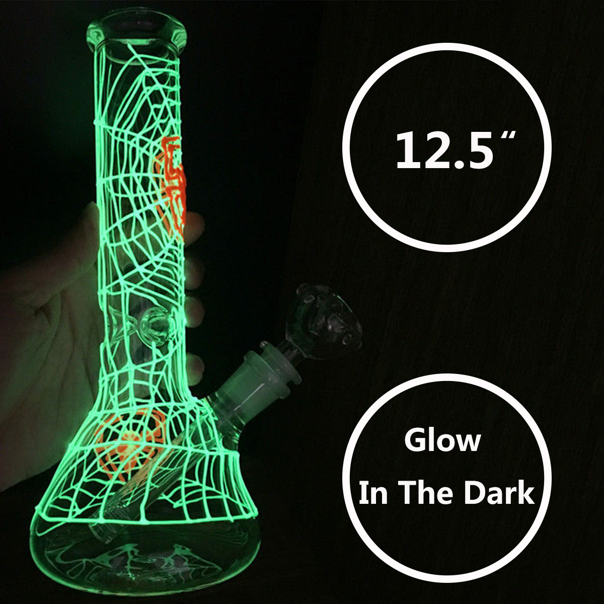 12.5'' Water Shisha Glass Bong Glow Dark Hookah Smoking Pipe Luminous Web Tobacco Pipe