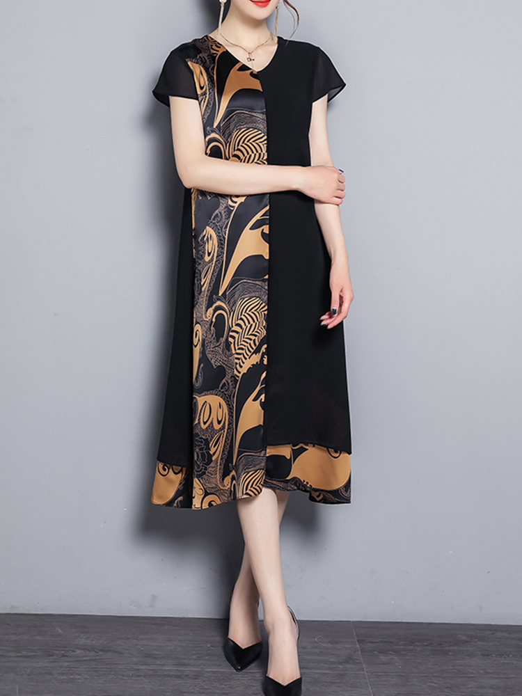Elegant Women Printed V-Neck Chiffon Dress