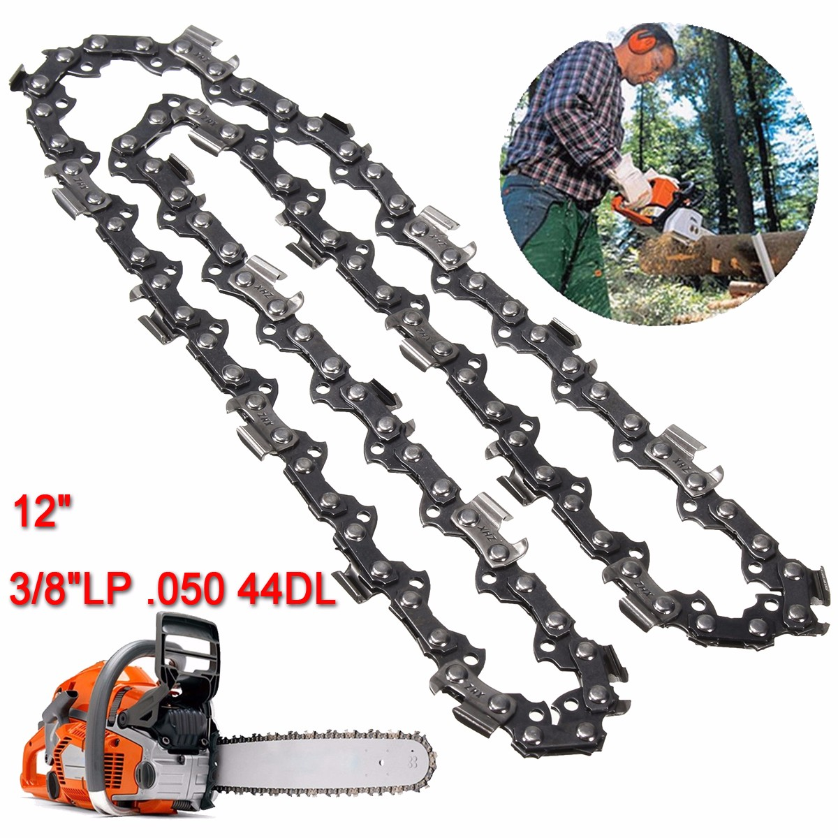12 Inch 44 Drive Links Substitution Chain Saw Saw Mill Chain 3/8 Inch Pitch 050 Gauge
