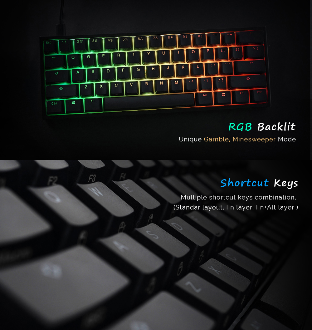 Akko X Ducky One 2 - Mini RGB Cherry MX Switch PBT Keycap 60% RGB Mechanical Gaming Keyboard