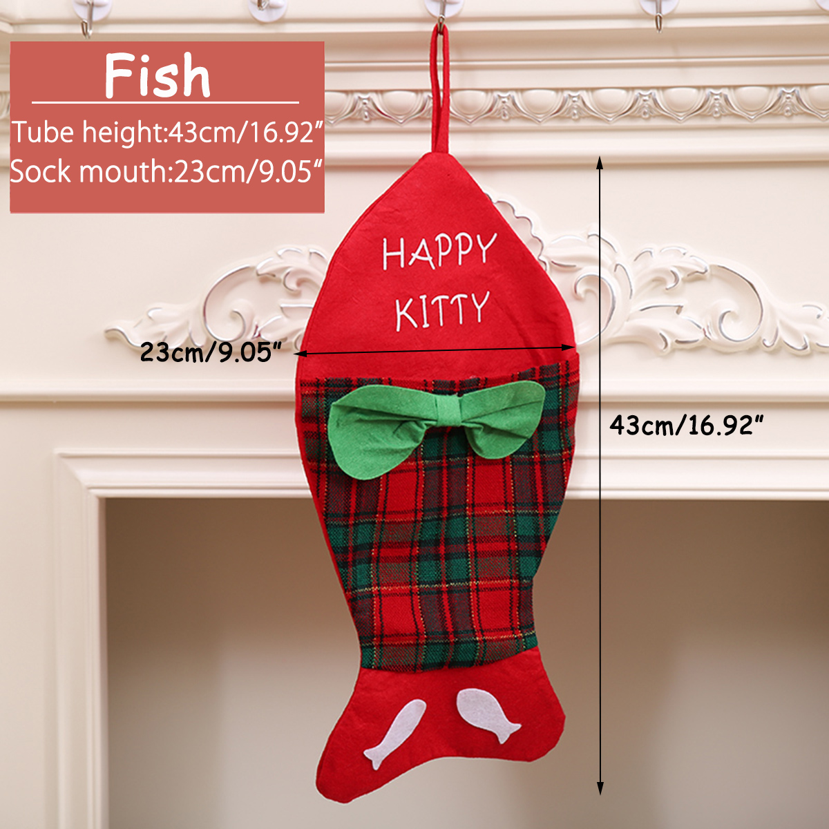 Christmas Stocking Santa Claus Fish Bone Decor Gift Bag Tree Hanging Decoration