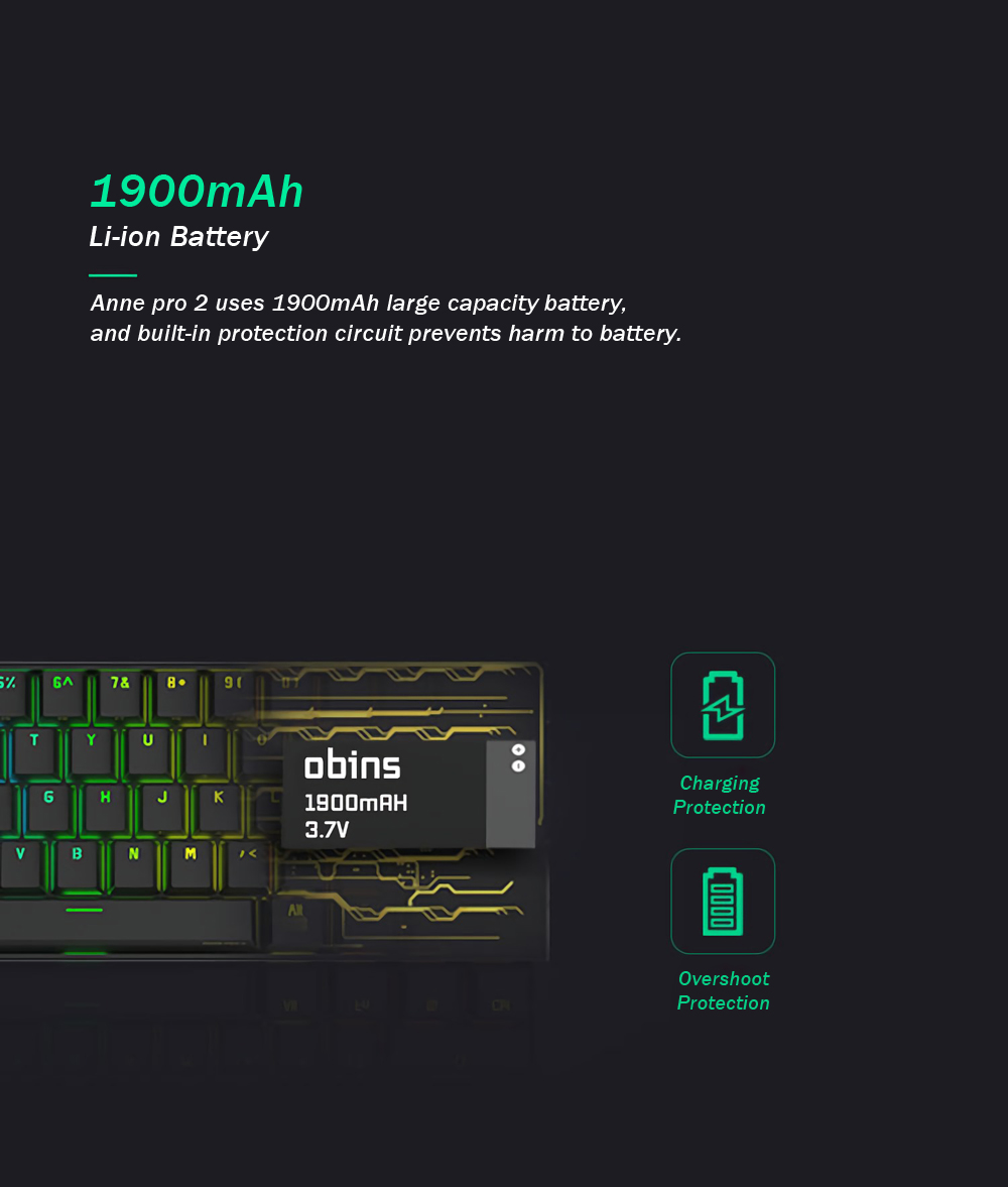 [Cherry MX Switch]Obins Anne Pro 2 60% NKRO bluetooth 4.0 Type-C RGB Mechanical Gaming Keyboard