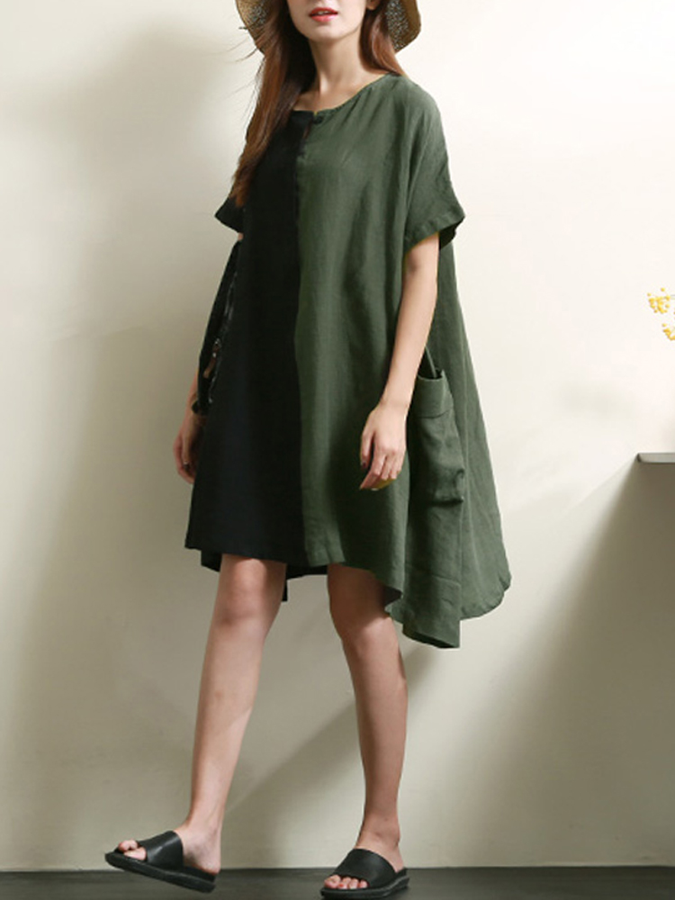 Casual Patchwork Loose Short Sleeve Women Dress