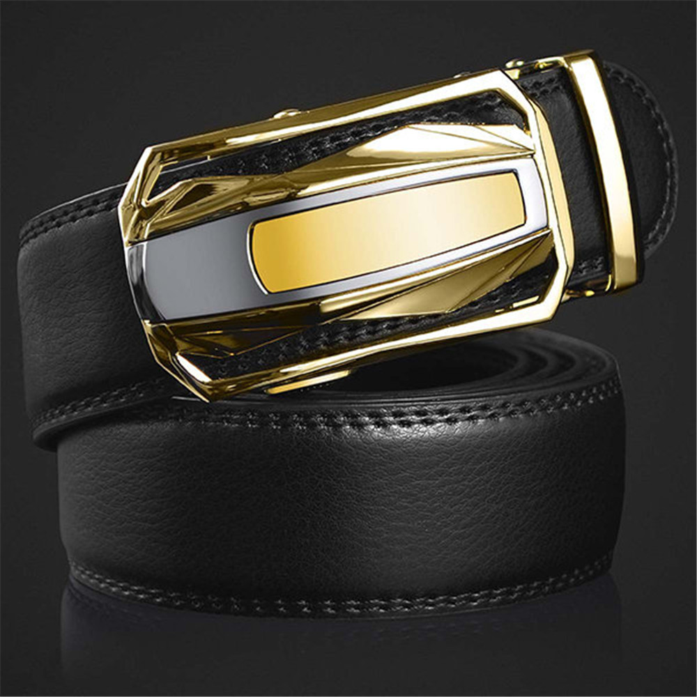 Men Leather Cowskin Automatic Buckle Belt