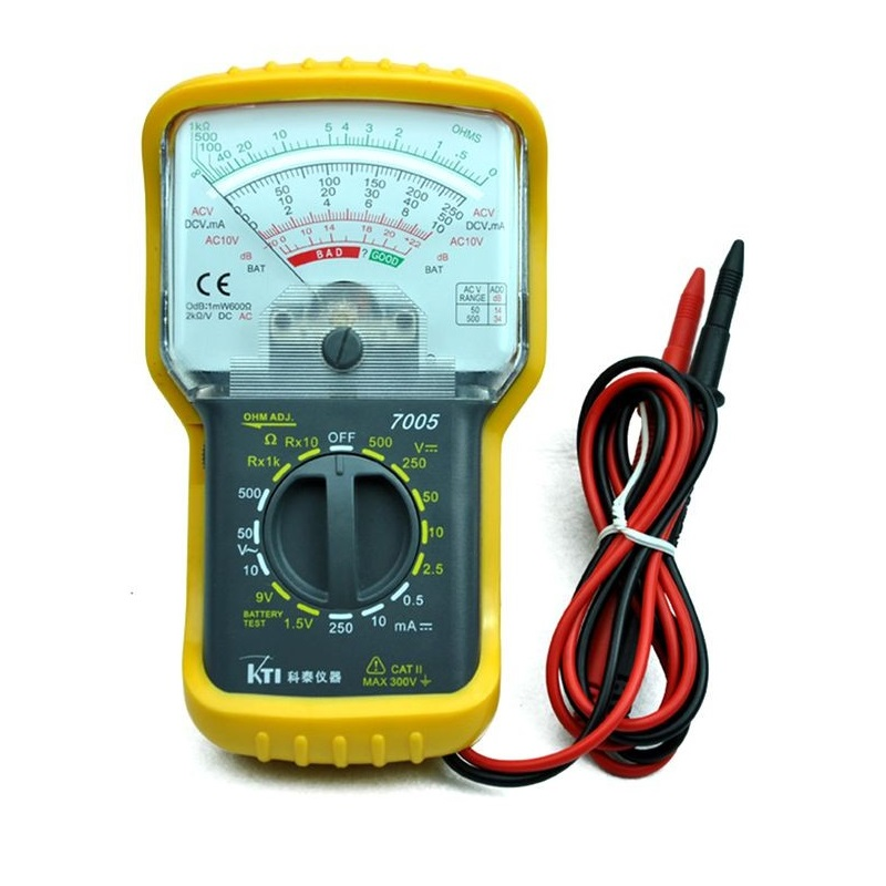 KT7005 Analog Multimeter Built-in Test Leads with Protective Case Hand-Held Pointer Multimeter AC / DC Voltage DC Current Battery Test