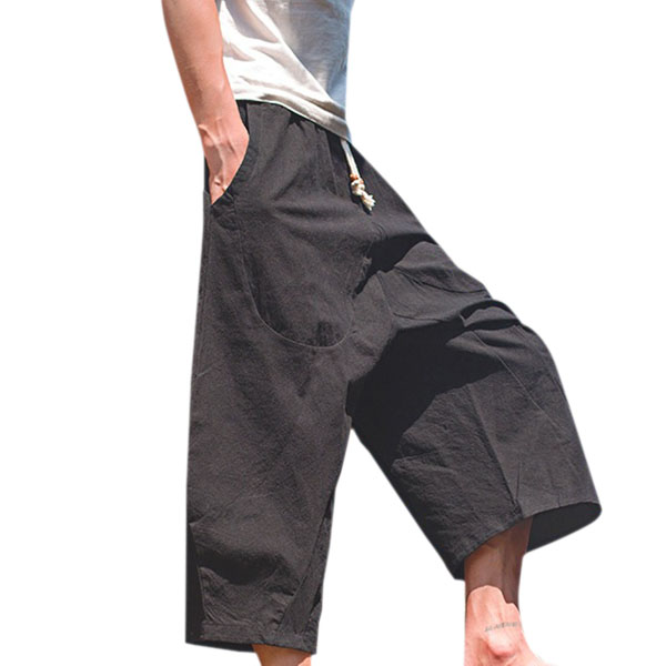 Mens Cotton Linen Loose Casual Calf-Length Harem Pants