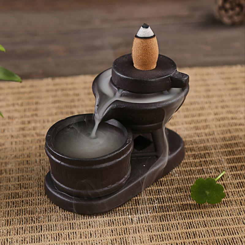 Backflow Incense Cone Burner Holder Ceramic Stone Mill