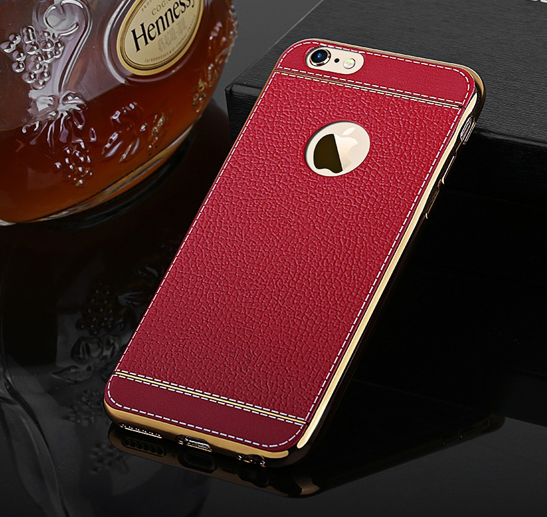 Bakeey™ Litchi Grain Plating TPU Silicone Ultra Thin Cover Case for iPhone 6Plus & 6sPlus 5.5 Inch