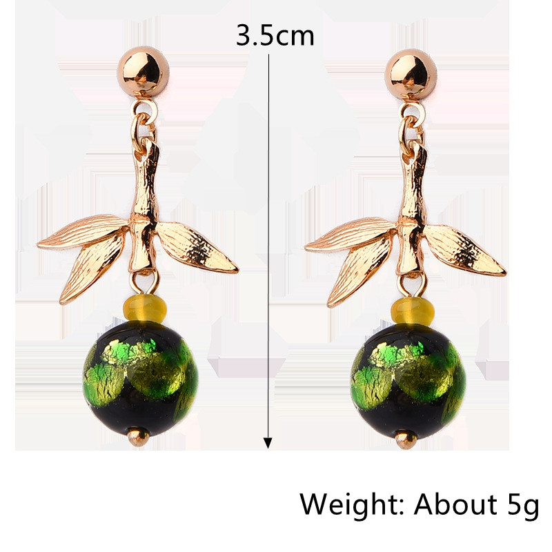 Gold Plated Agate Bamboo Shape Piercing Earrings for Women