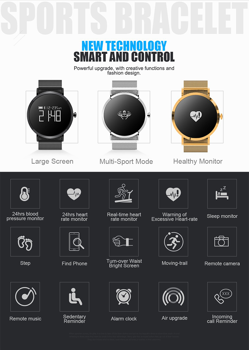 CV08 OLED IP67 Heart Rate Smart Watch bluetooth Hand Moving Control Initiative Reminder Picture