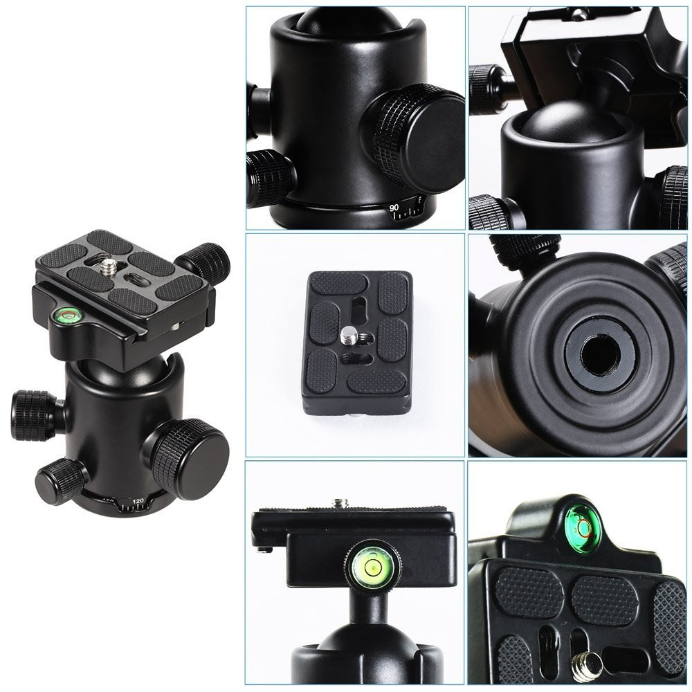 VELEDGE KF-0 Camera Tripod Ball Head Aluminum Alloy Ballhead Panoramic Head Sliding Rail Head with 2 Built-in Spirit Levels