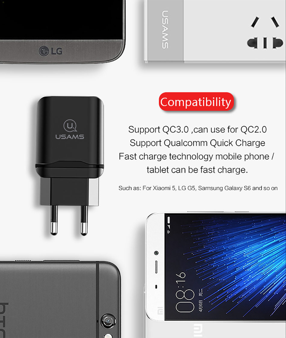 USAMS US-CC024 18W QC3.0 EU Plug Fast Travel Wall Charger For Samsung S8 Xiaomi 6 iphone