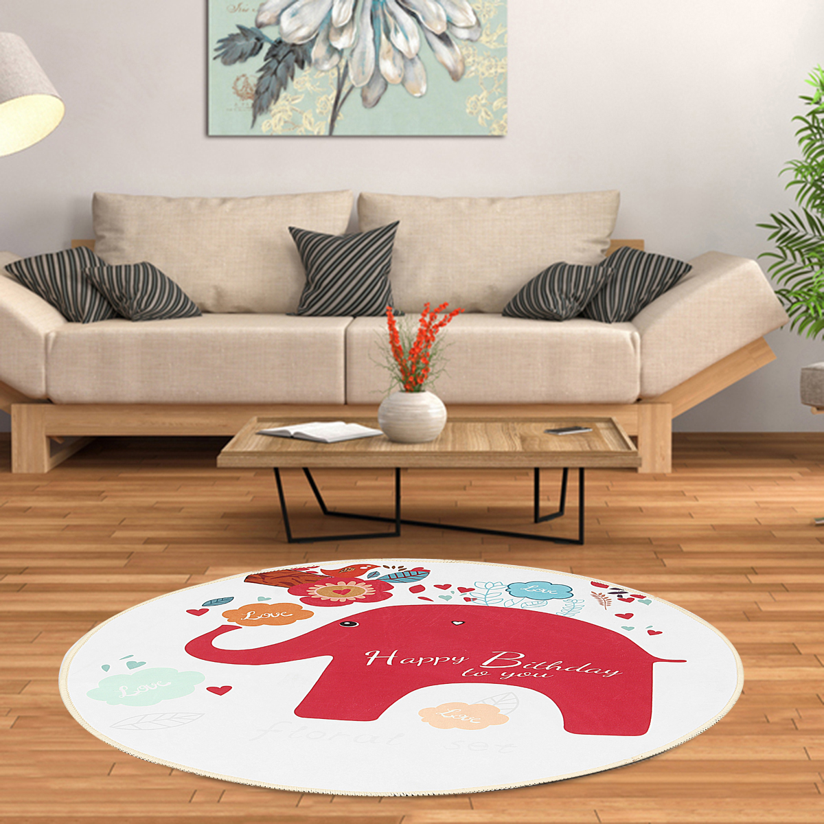 Round Carpet Animals Baby Rug Elephant Floor Mat Non-Slip Multifunctional Chair Mat