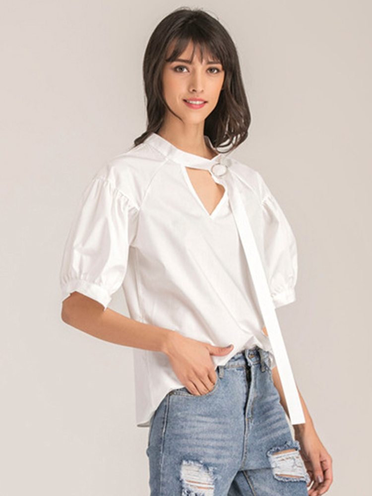 Casual Women Stripe Tie Loose Half Sleeve V-neck Blouses