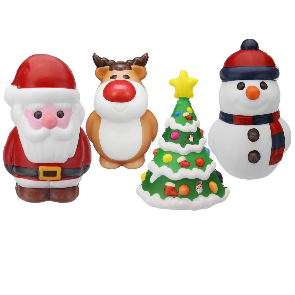 Cooland 4PCS Christmas Gift Squishy Reindeer 14CM Christmas Tree 14CM Snowman 14CM Santa Claus 14CM
