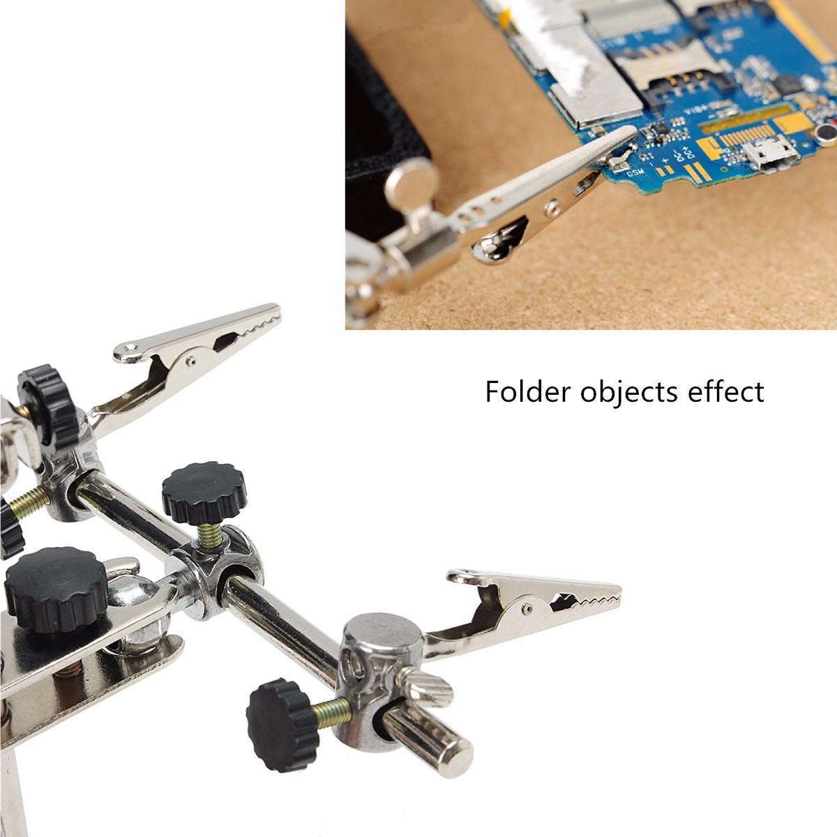 2X Soldering Clamp Stand Magnifier Glass Modelling Helping Hands with 2 LED Lights