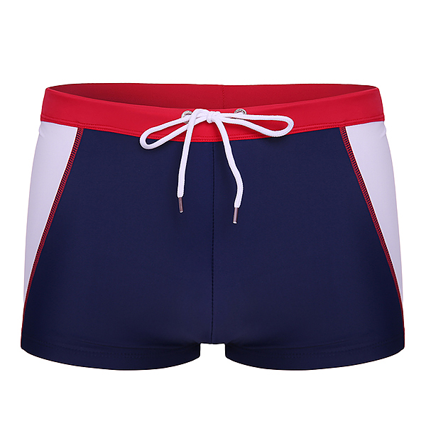 ESCATCH Mens Letter Printing Contrast Color Stitching Low Waist Boxers Swimming Beach Trunks