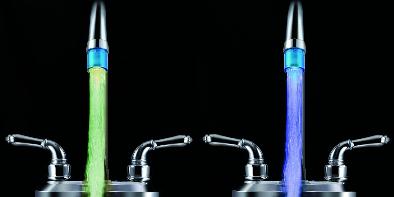 Water Flow Recognition 7 Colors Flashing LED Light Water Tap Faucet Light or LED Temperature Control Faucet Head