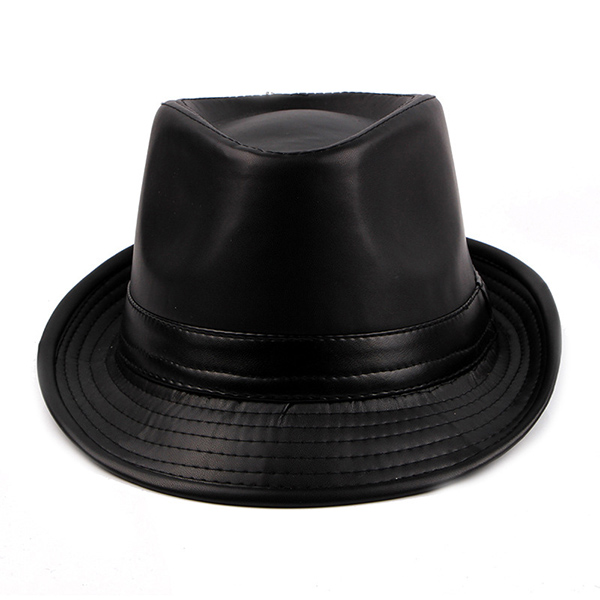9c6c1bdc190 Men Vintage Artificial Leather Bucket Hats British Style Curved Brim Jazz  Cap