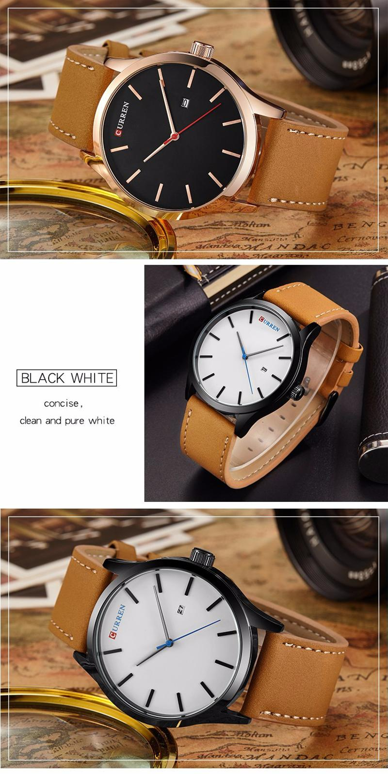 CURREN 8214 Fashion Leather Strap Men Quartz Watch Casual Date Display Sport Watch