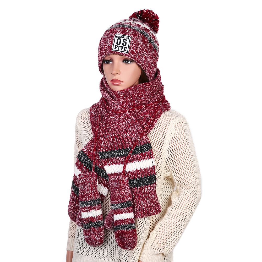 Women's Chic Handmade Knitting Three-piece Christmas Wear
