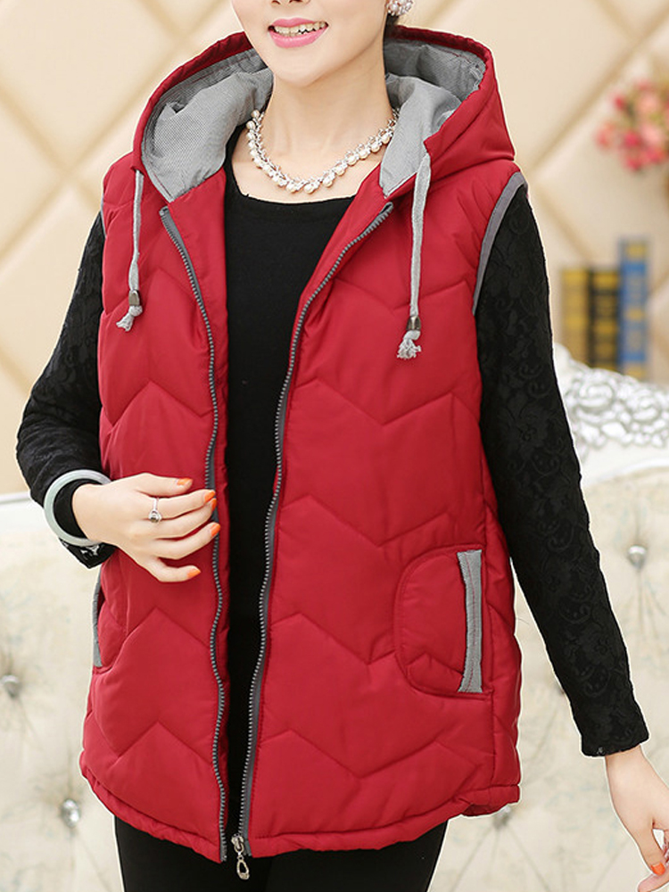 Vintage Middle Aged Women Hooded Thick Vest Coat